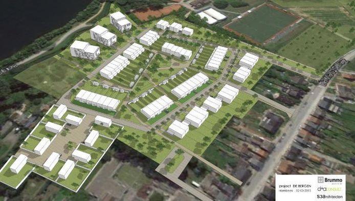 Op de plannen van d+a consult en S3architecten cvba is een overzicht te zien van de nieuwe verkaveling met links bovenaan de Eglegemvijver en onderaan de Esdoornschool (foto boven), en de 'urban villa's (foto rechts).