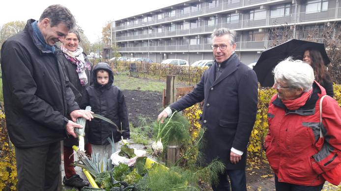 Wethouder Chris Dekker (links) en directeur Eric de Ceuster van Woongoed Middelburg krijgen groenten uit de tuin van CitySeeds aangeboden van Martha Vergouwe (rechts).