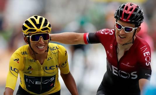 Egan Bernal, de Tourwinnaar van 2019, met INEOS-ploeggenoot Geraint Thomas, de winnaar van 2018.