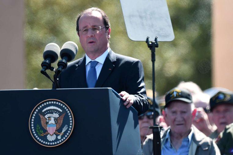 De Franse president Hollande tijdens zijn toespraak in Caen. Beeld afp