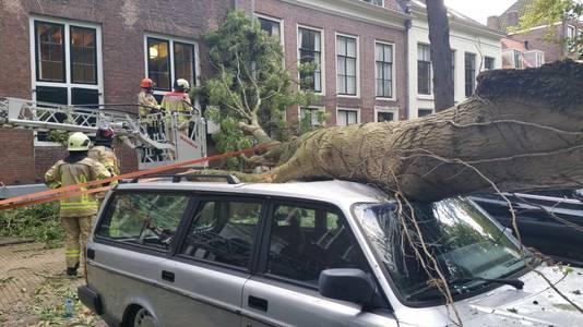 Aan het Molenwater in Middelburg viel een boom bovenop een auto en tegen de gevel van een huis.