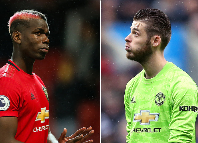Paul Pogba en David De Gea.