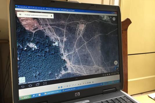 Voorbeeld van olifantenpaden op een Google Earth kaart