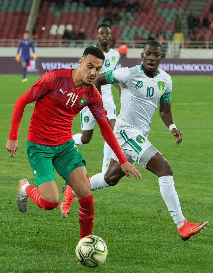 Archieffoto: Mazraoui in actie tegen Mauritanië
