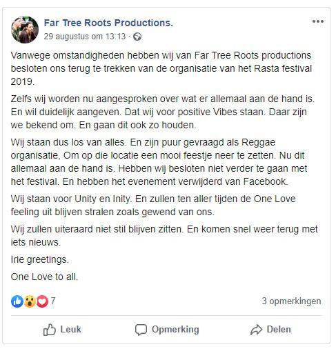 Het bericht dat Danny Verboom op de Facebookpagina van zijn bedrijf plaatste.