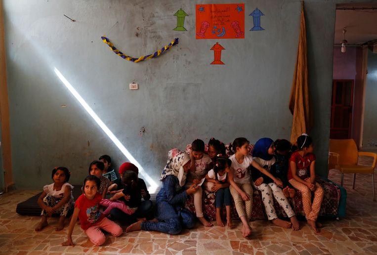 Syrische weeskinderen in een weenhuis in Jarablus in het noorden van Syrië in mei 2018.