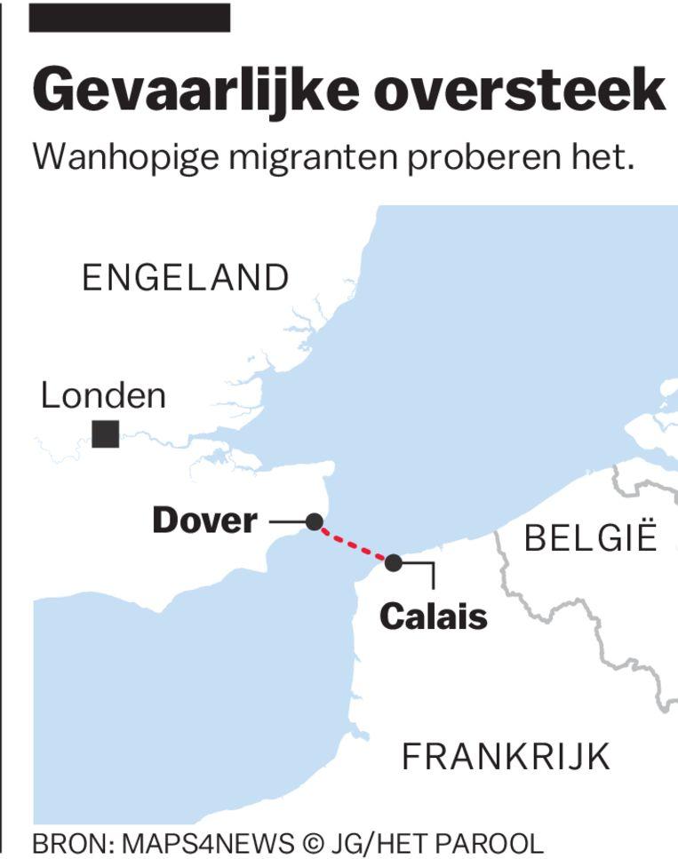 De oversteek van Calais naar Dover, over het Kanaal.  Beeld Jamie Groenestein