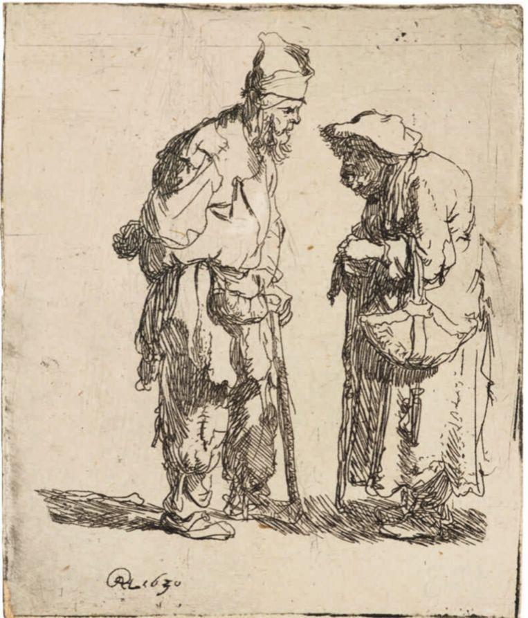 Rembrandt, Bedelaar en bedelares in gesprek (1630), Ashmolean Museum Oxford (nu te zien in De Lakenhal). Beeld null