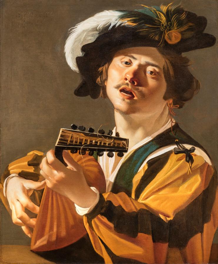 De Luitspeler uit 1622 van de Utrechtse caravaggist Dirck van Baburen. De afbeelding verschijnt op een blinde muur van een flat aan de Spaaklaan in Kanaleneiland in Utrecht. Collectie Centraal Museum, Utrecht.