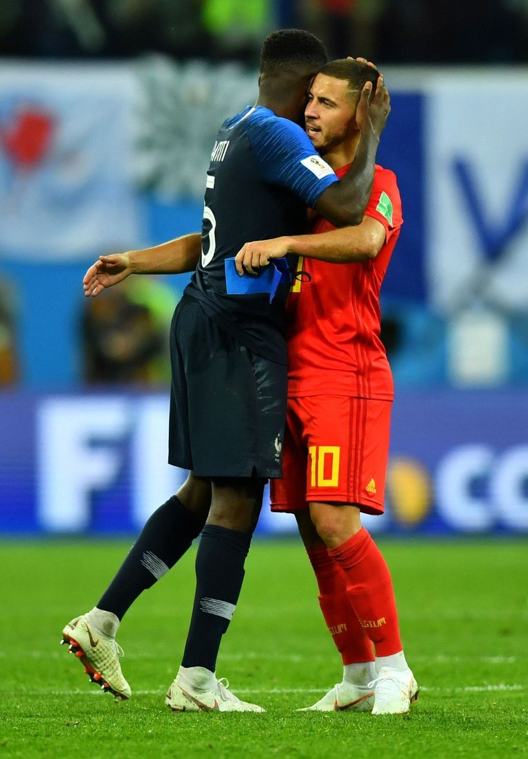 Soccer Football - World Cup - Semi Final - France v Belgium - Saint Petersburg Stadium, Saint Petersburg, Russia - July 10, 2018  France's Samuel Umtiti and Belgium's Eden Hazard hug after the match                   REUTERS/Dylan Martinez © PHOTO NEWS / PICTURE NOT INCLUDED IN THE CONTRACTS  ! only BELGIUM !
