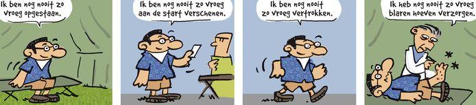 Deze strip van Herman Roozen is verschenen rond de Nijmeegse Vierdaagse.