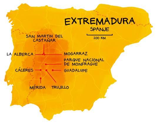 Kaartje bij reizenverhaal AD Magazine over Extremadura.