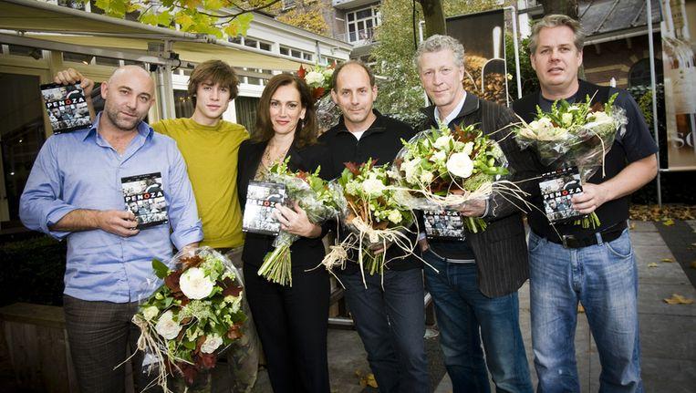 Castleden Loek Peters, Niels Gomperts, Monic Hendrickx, producent Alain de Levita, Hajo Bruins en Thomas Acda. © ANP Beeld