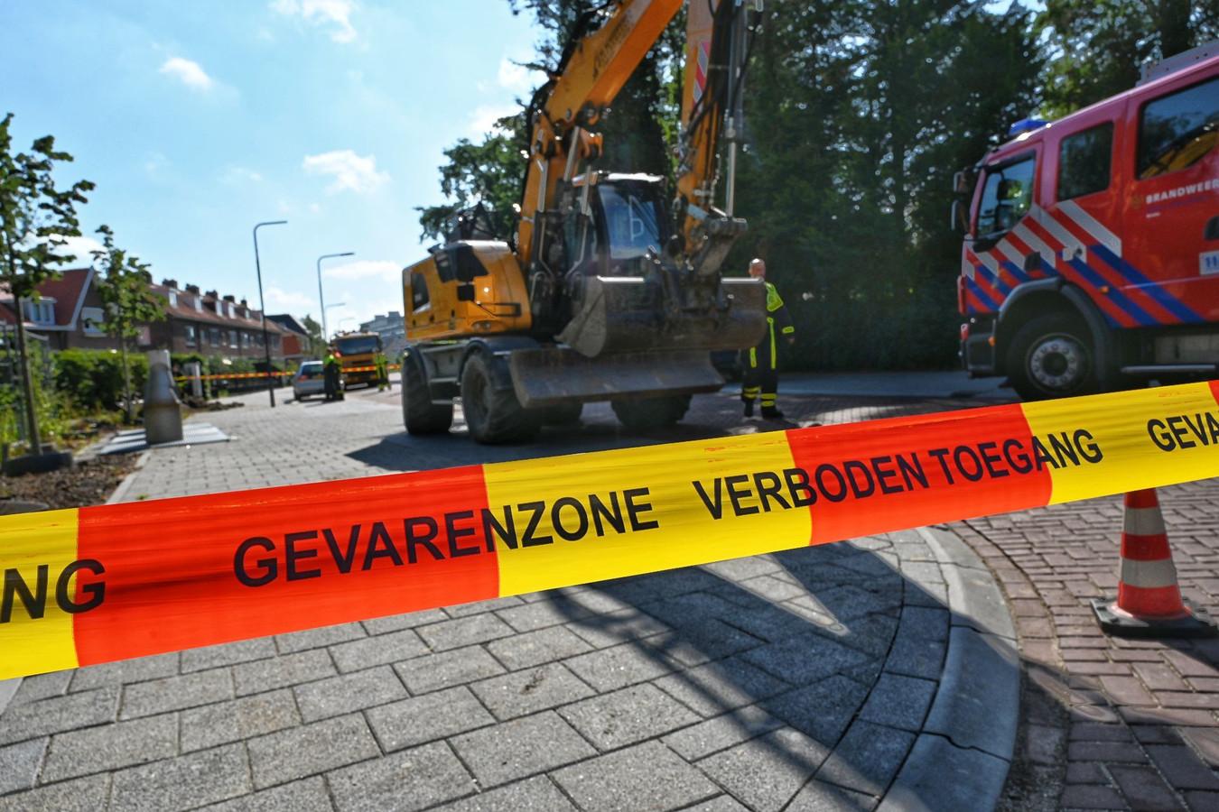 Gaslek Bavelselaan in Breda. stockfoto gaslek afzetting afgezet stock adr