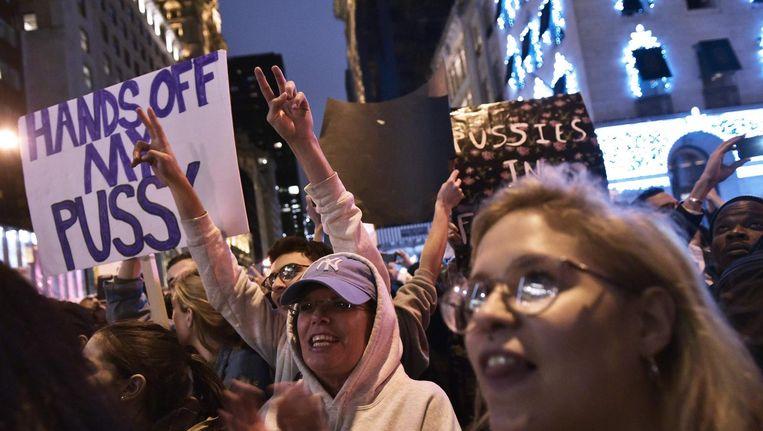 Anti-Trumpdemonstraties in New York Beeld anp