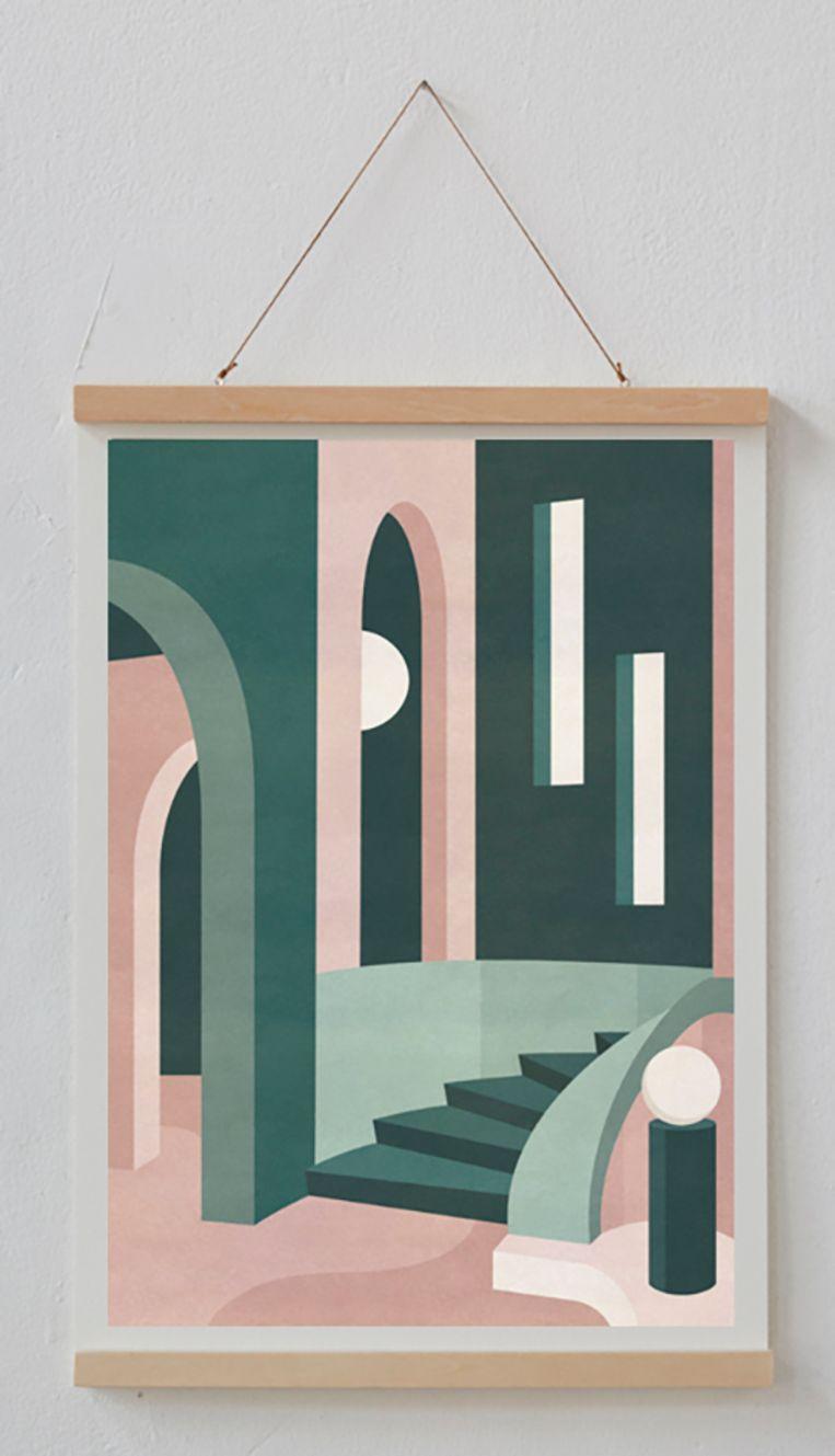 Interieur- en setonwerper Charlotte Taylor maakt pastelkleurige prints van dromerige trappenhuizen. De 'Glicée'-prints zijn in hoge kwaliteit afgedrukt op kunstdrukpapier. A3-formaat, € 92,95. charlottetaylor.co Beeld