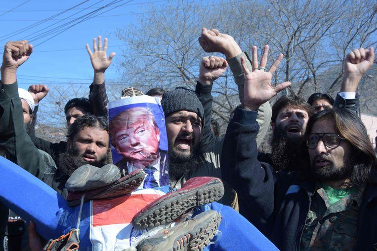 Pakistaanse demonstranten in Kashmir Beeld AFP