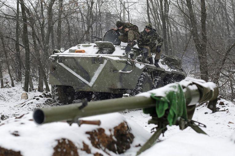 Militairen in de buurt van Donetsk. Beeld anp