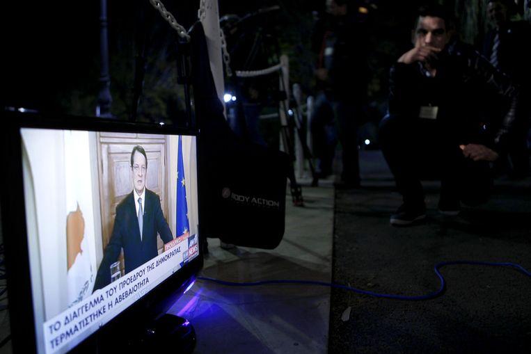 President Anastasiades houdt een televisietoespraak op maandag 25 maart. Beeld ap