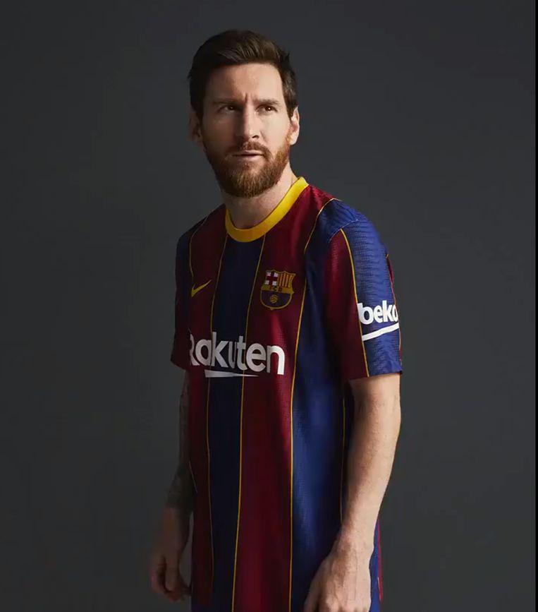 Lionel Messi in het nieuwe shirt van FC Barcelona.