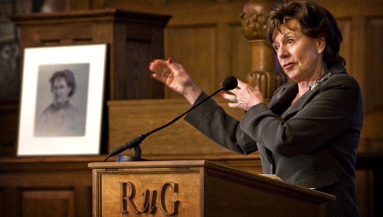 In haar dankwoord noemde Kroes onderwijs, flexibiliteit en zelfvertrouwen onmisbaar voor de positie van vrouwen. Foto ANP Beeld