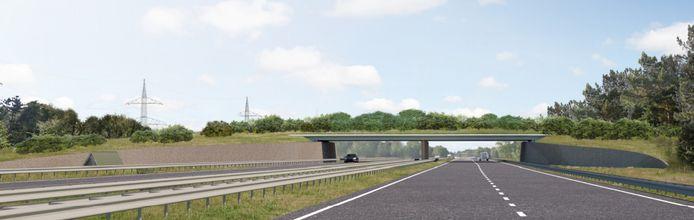 Een Artist Impression van het toekomstige Ecoduct Oudste Grond over de A35 tussen Enschede en Hengelo