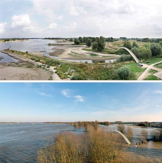 Impressie van het verschil tussen hoogwater rond de jaarwisseling en de lage waterstand nu. Bovenste foto is van 19 augustus, onderste van 8 januari. Het verschil bedraagt ruim 7 meter.