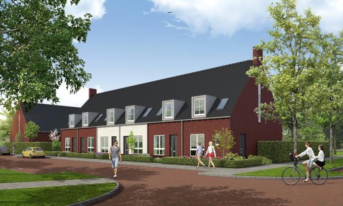 Impressie van de huurwoningen die op Uden-Zuid gebouwd gaan worden. In totaal gaat het om zestig huizen in de goedkopere prijsklasse.