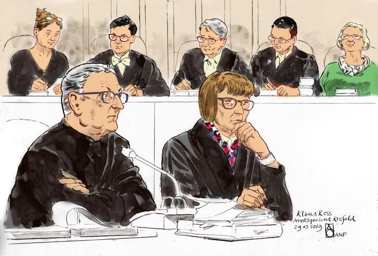 Rechtbanktekening van Klaus Ross.  Beeld ANP Graphics