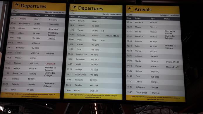Flinke vertragingen op Eindhoven Airport, de mist is de boosdoener.