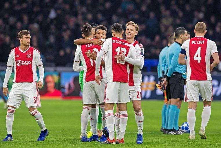 De spelers van Ajax tijdens de laatste groepswedstrijd in de Champions League, tegen Bayern München. Beeld Guus Dubbelman / de Volkskrant