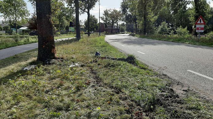 De plaats van het ongeval aan Hoog Beugt, de ochtend erna.