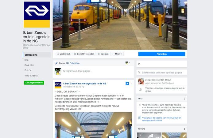 De Facebook-pagina 'Ik ben Zeeuw en teleurgesteld in de NS'