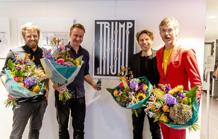 Het tekenaarscollectief Gorilla wint de Inktspotprijs 2019. Van links naar rechts: Pepijn Zurburg, Herman van Bostelen, Alex Clay en Richard van der Laken. Beeld ANP