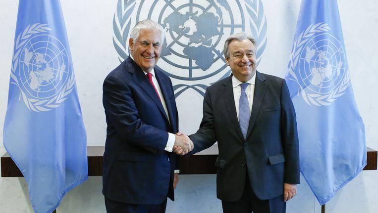 VN-secretaris-generaal Antonio Guterres (rechts) met de Amerikaanse minister van Buitenlandse Zaken Rex Tillerson.