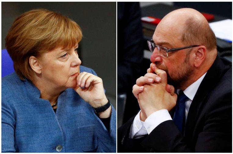 Angela Merkel en Martin Schulz