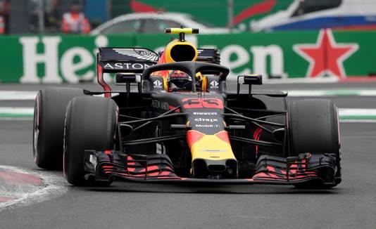 Verstappen in zijn bolide tijdens de kwalificatie.