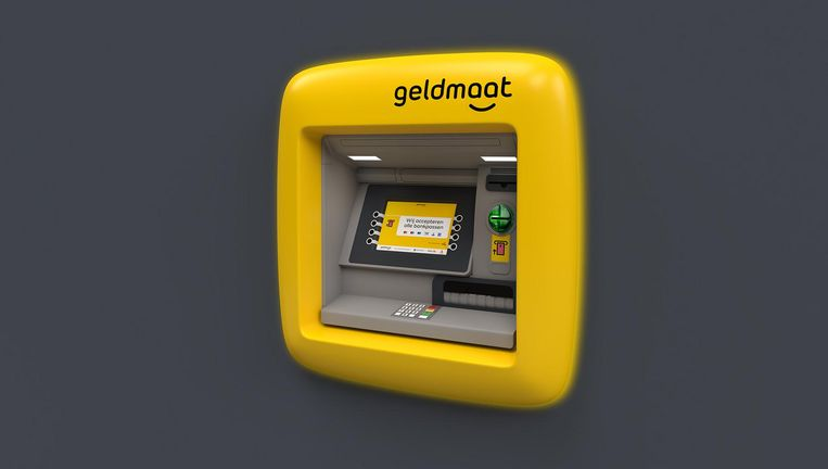 Geldautomaten zijn vanaf 1 januari geel. Beeld Geldservice Nederland