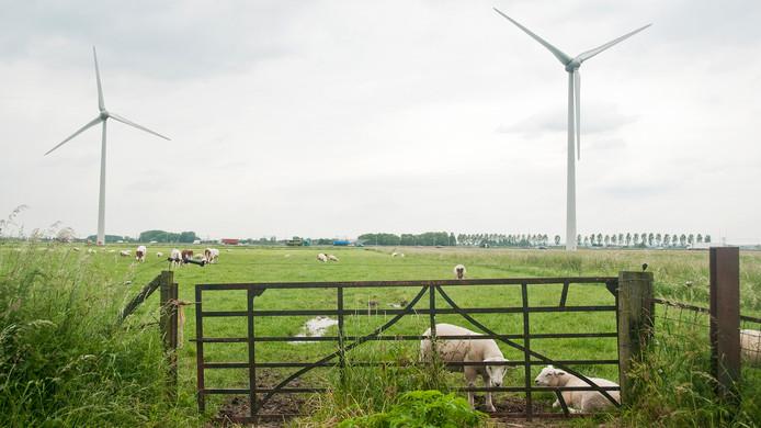 Twee windmolens in de weilanden bij Echteld in de gemeente NederBetuwe, vlak langs de snelweg A15.