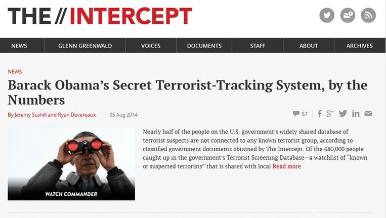 Beeld van de klokkenluiderswebsite The Intercept. Beeld The Intercept