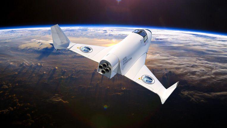 Illustratie van de XCOR Lynx in de ruimte. Beeld