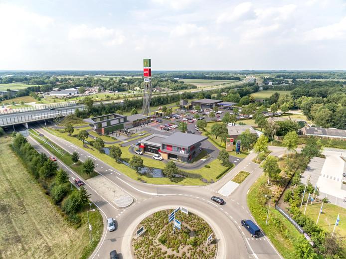 Schets van het toekomstig Foodcourt Uden. Vooraan komt Kentucky Fried Chicken (KFC), links daarvan McDonald's en achterin Subway.