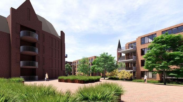 Achter het klooster in Veghel komen appartementengebouwen die verbonden worden door hofjes.