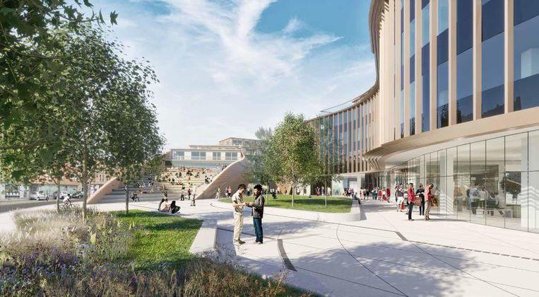 De publieke ruimte tussen de gebouwen moet een groene ontmoetingsplek worden.