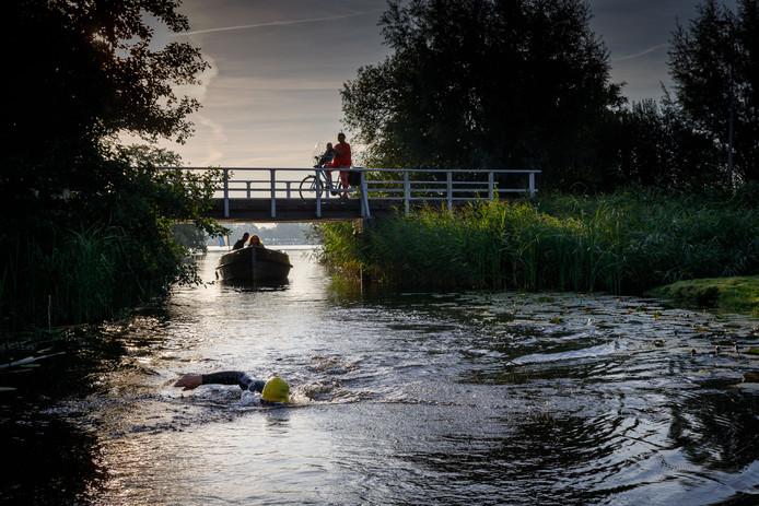 De zwemmers zijn onderweg en passeren bruggetjes bij Belt-Schutsloot