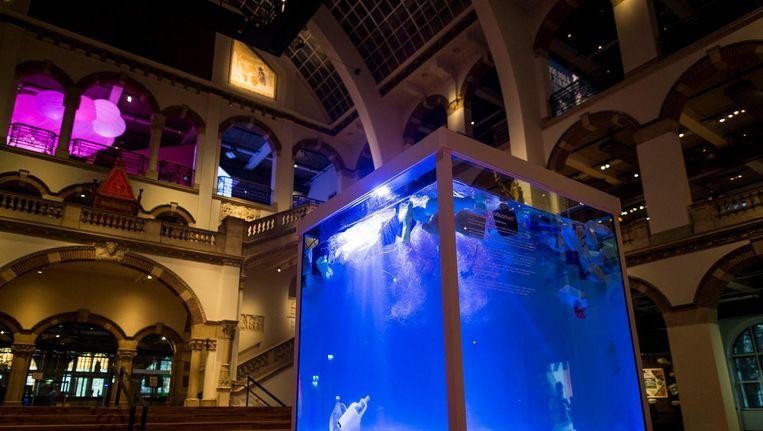 In een kubus met ribben van 1,4 meter ziet de bezoeker de Grote Oceaan ¿ met afval, maar zonder vissen Beeld Rink Hof