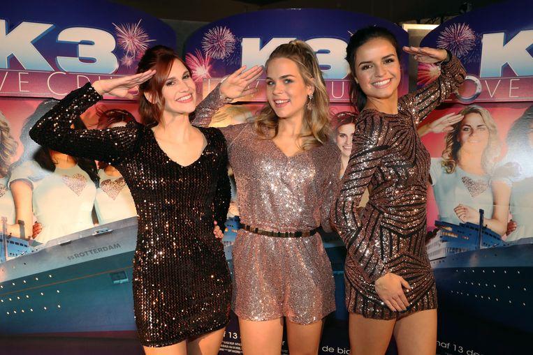 De meisjes van K3 op de premiere van hun eerste film 'K3 Love Cruise'.