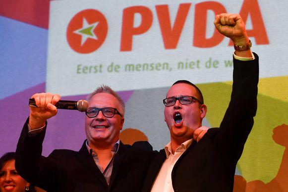 PVDA-kopstukken Peter Mertens (lijsttrekker in Antwerpen) en Raoul Hedebouw (lijstduwer in Luik).