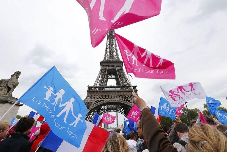 Protest in Parijs tegen het homohuwelijk. Aanhangers van 'La Manif Pour Tous'(Demonstratie voor allemaal) zwaaien met vlaggen bij de Eiffeltoren. Beeld afp