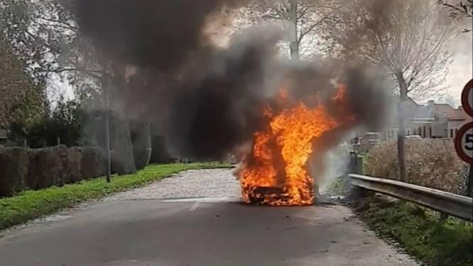 Oldtimer uit 1967 gaat volledig in de vlammen op in Beauvoorde